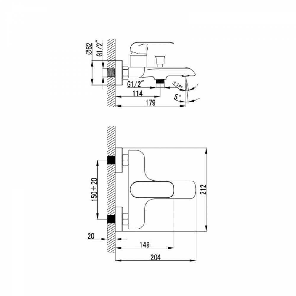 CALLIPSO Смеситель для ванны CALSB00i02WA  (белый/хром)