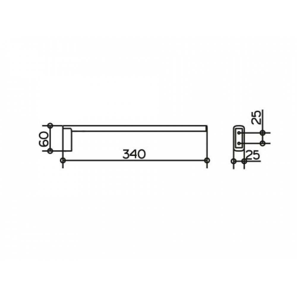 EDITION 400 Полотенцедержатель 340 мм. 11522 010000, однорожковый, хром