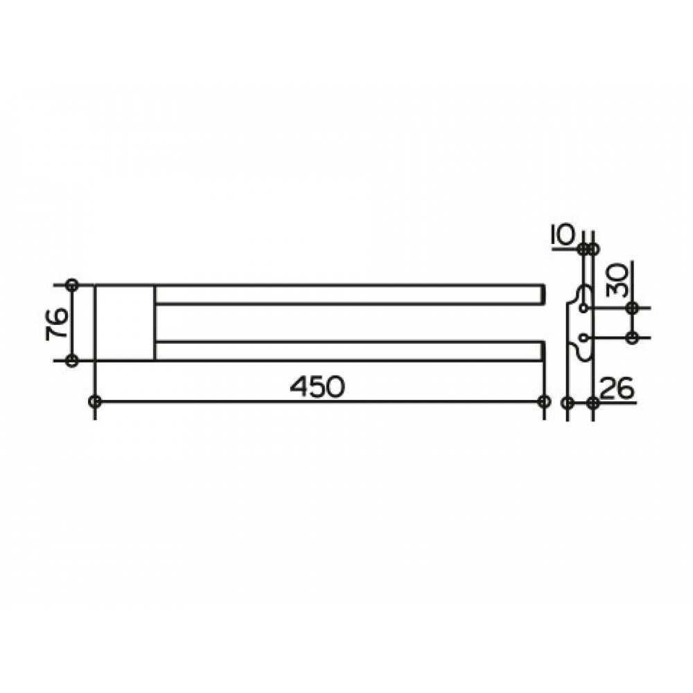 EDITION 400 Полотенцедержатель двойной 450 мм. 11518 010000, хром