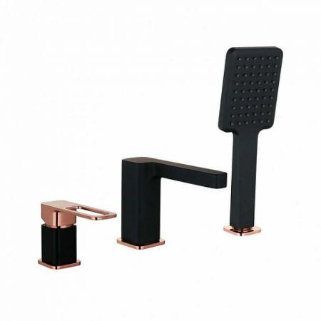 SLIDE Смеситель на борт ванны, на 3 отв. SLIBG30i07 (черный матовый/розовое золото)
