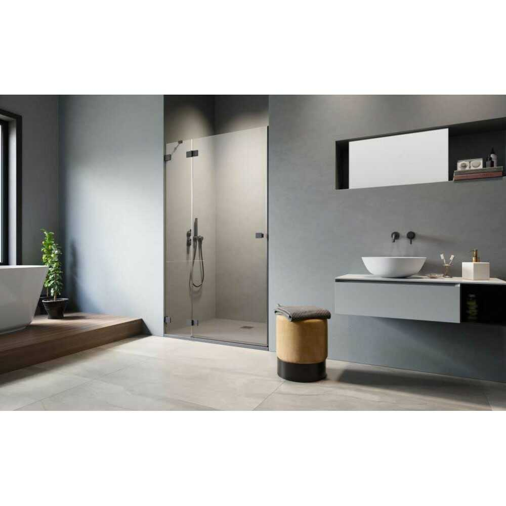 Душевая дверь распашная Essenza PRO Black DWJ 90 10099090-54-01L (стекло прозр.)