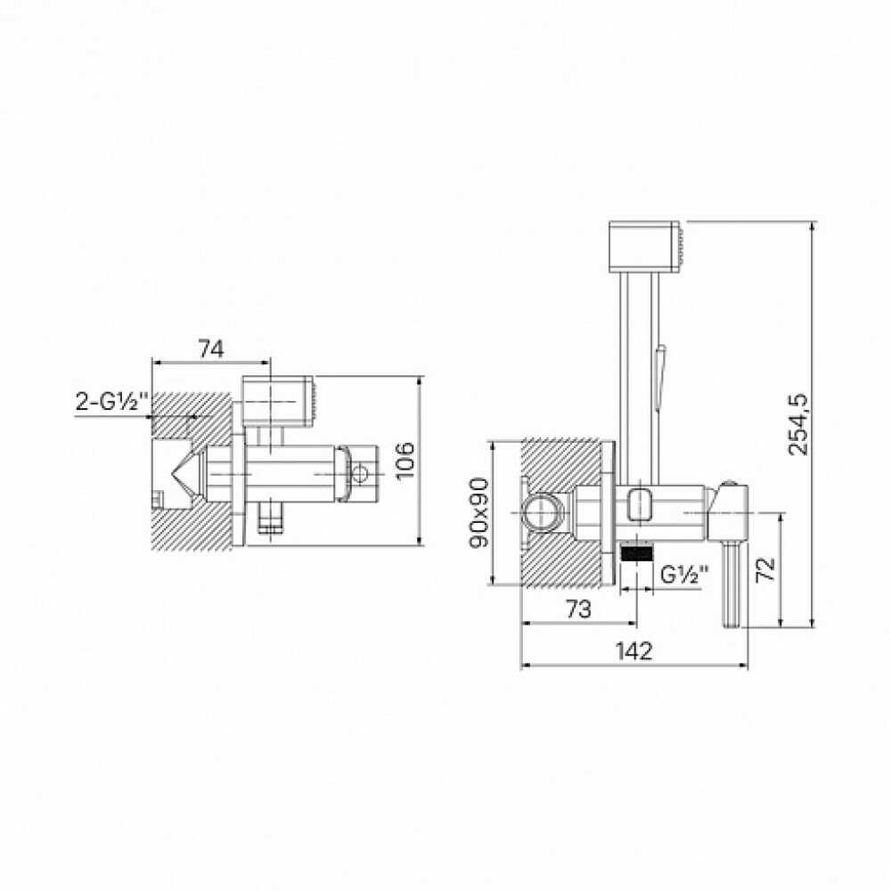AXES Встраиваемый смеситель с гигиеническим душем 004BLS0i08 (черный)