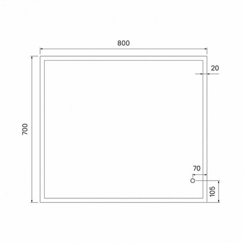 BRICK Зеркало для ванной с LED-подсветкой 80 см BRI8000i98