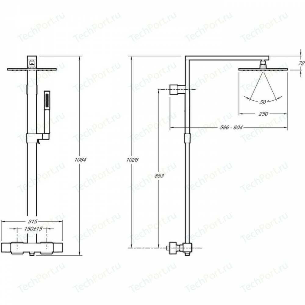 Душевая колонна Strayt с термостатическим смесителем, хром E98321-CP