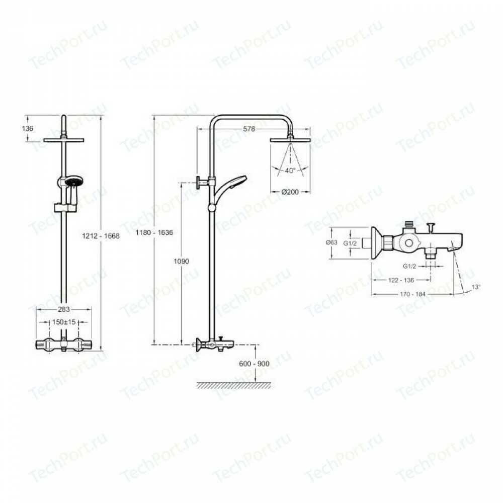 July Душевая колонна для ванны /душа с термостатическим смесителем, верхним и ручным душем E99741-CP
