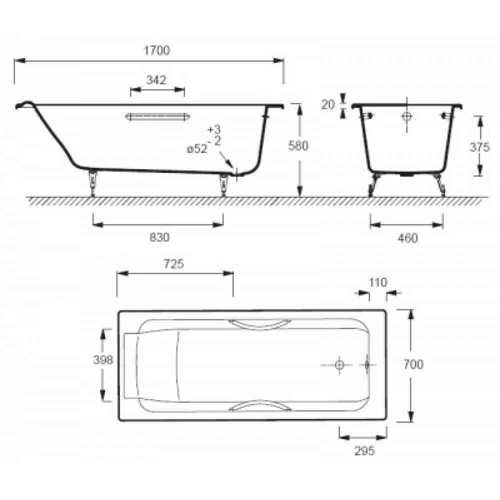 Ванна чугунная PARALLEL E2948-00 170х70 см + ручки E60327-СР + ножки E4113-NF