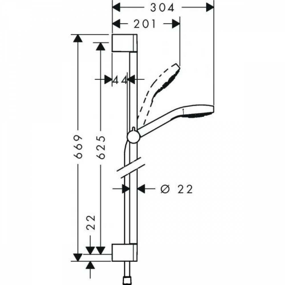 Душевая стойка HG CROMA Select E 100 Multi/U'C 0.65 м 26580400