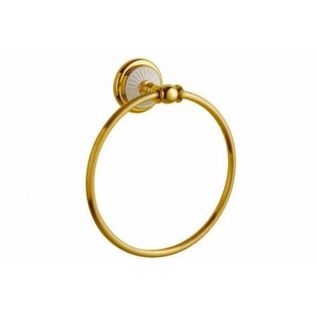 PALAZZO Держатель для полотенец (круглый) 10105 золото + белая керамика