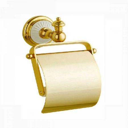 PALAZZO Держатель для туалетной бумаги с крышкой 10101 золото + белая керамика
