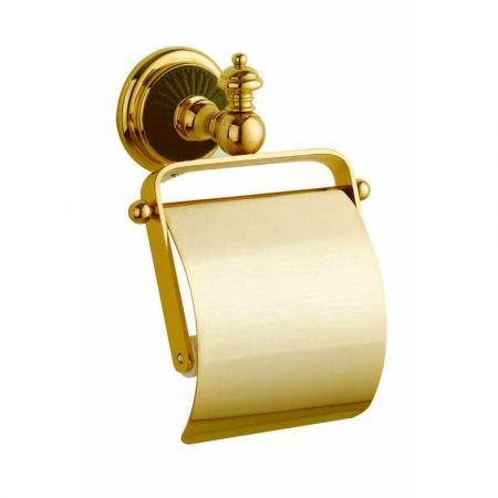 PALAZZO Держатель для туалетной бумаги с крышкой 10151 золото + черная керамика