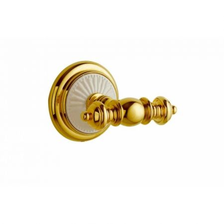 PALAZZO Крючок двойной 10106 золото+ белая керамика