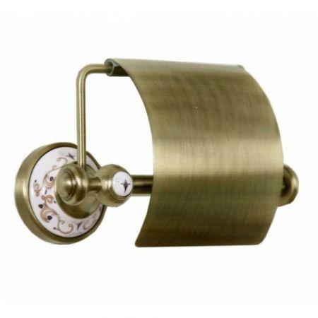 PROVANSE Держатель для туалетной бумаги с крышкой 10801 бронза, керамика