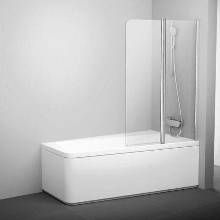 Шторка для ванны 10CVS2-100 7QLA0103Z 990х1500мм белый, стекло прозрачное,левая