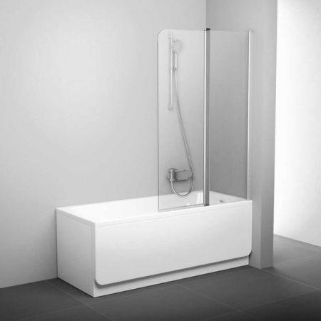 Шторка для ванны CVS2-100 7QLA0100Z1 1500мм белый, стекло прозрачное, левая