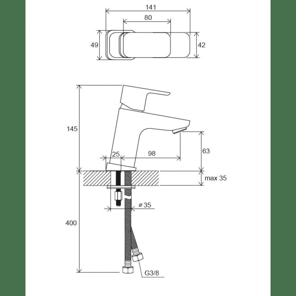 10° Free Смеситель для умывальника TD F 012.00/140 X070127, без д/к