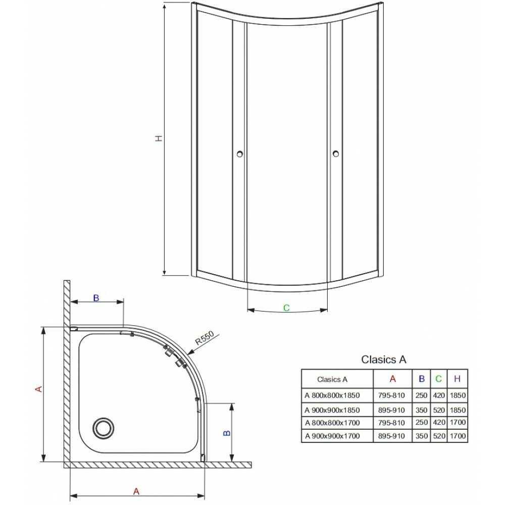 Душевое ограждение Classic A80 30010-01-01 800x800x1850 прозрачное стекло