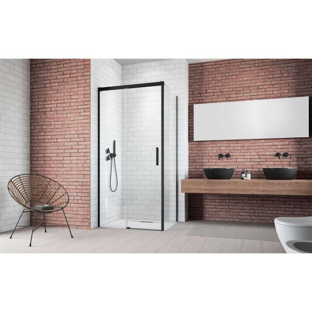 Душевое ограждение Idea Black KDJ 100 лев.дверь 387040-54-01L + бок.ст. 387052-54-01R