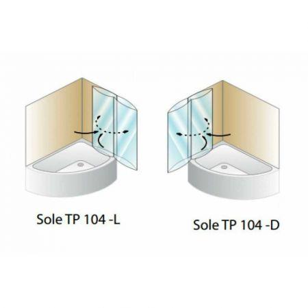Штора для ванны SOLE TP 104 SILVER 104х140 хром, прозрачное стекло