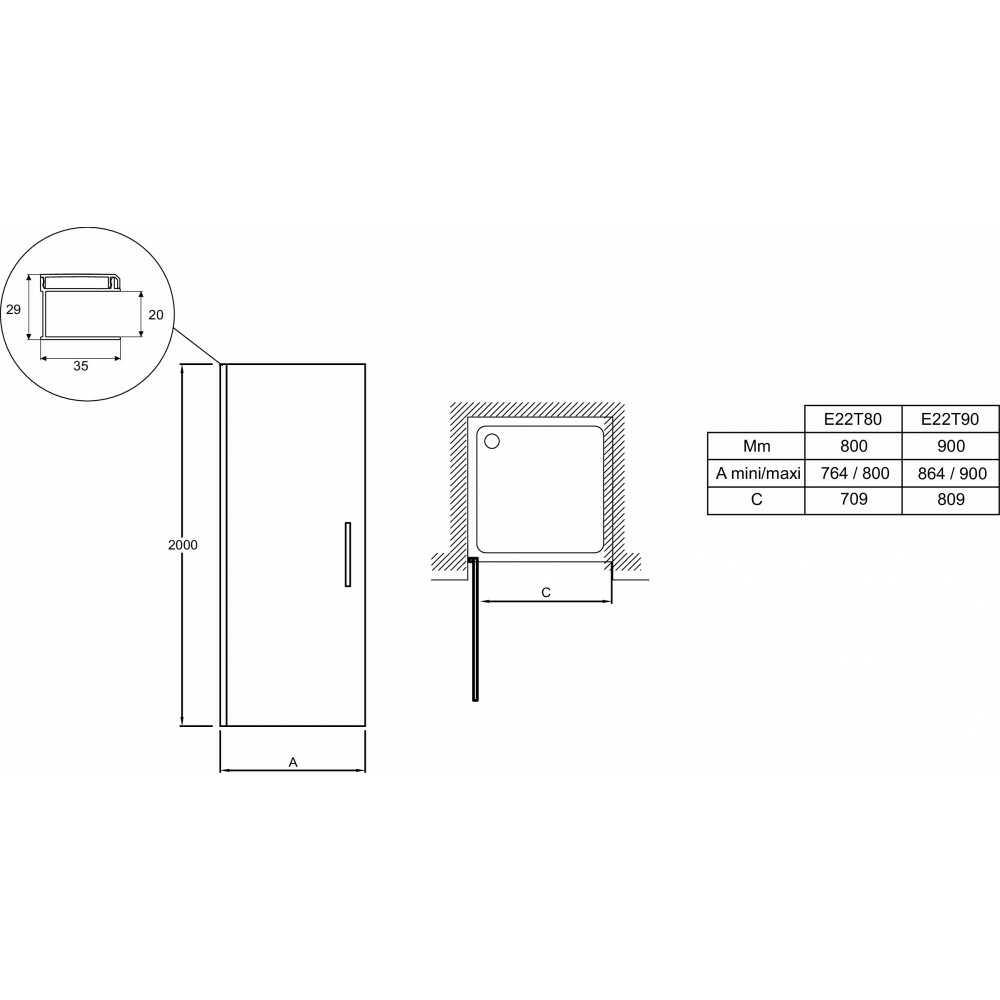 Дверь CONTRA распашная в нишу 90х200 (прозр. стекло) E22T90-GA