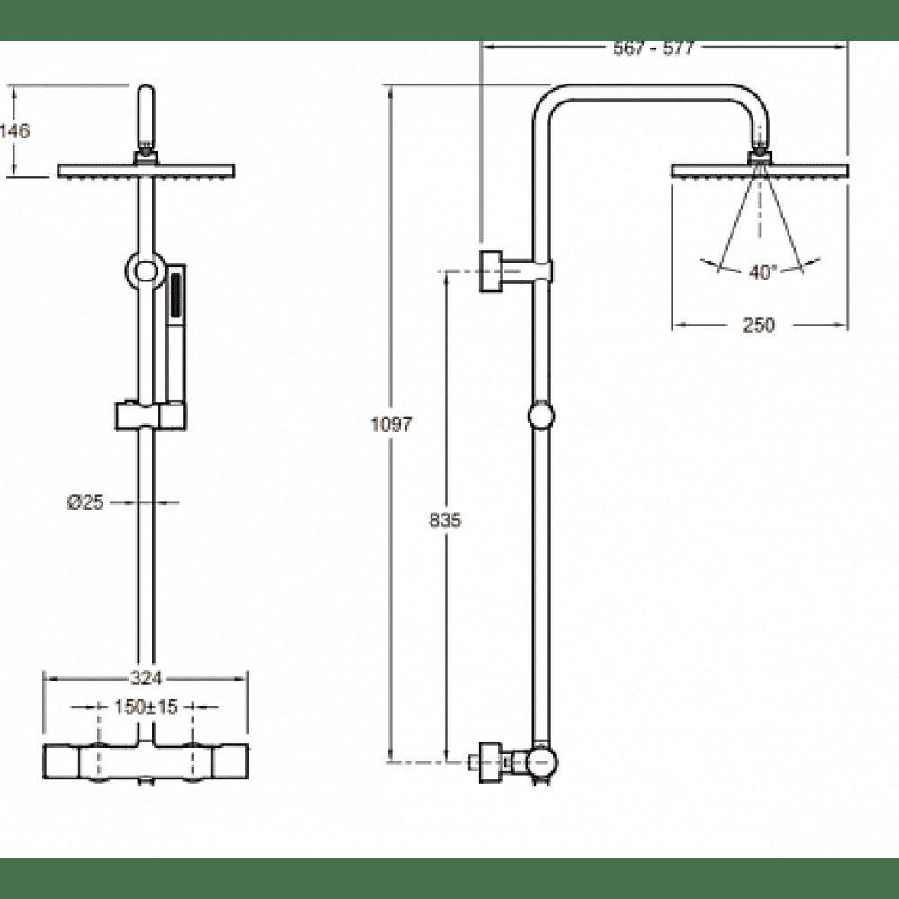 Душевая колонна BRIGITTE, термостат, верхний душ, 2 режима (хром) E32850-CP