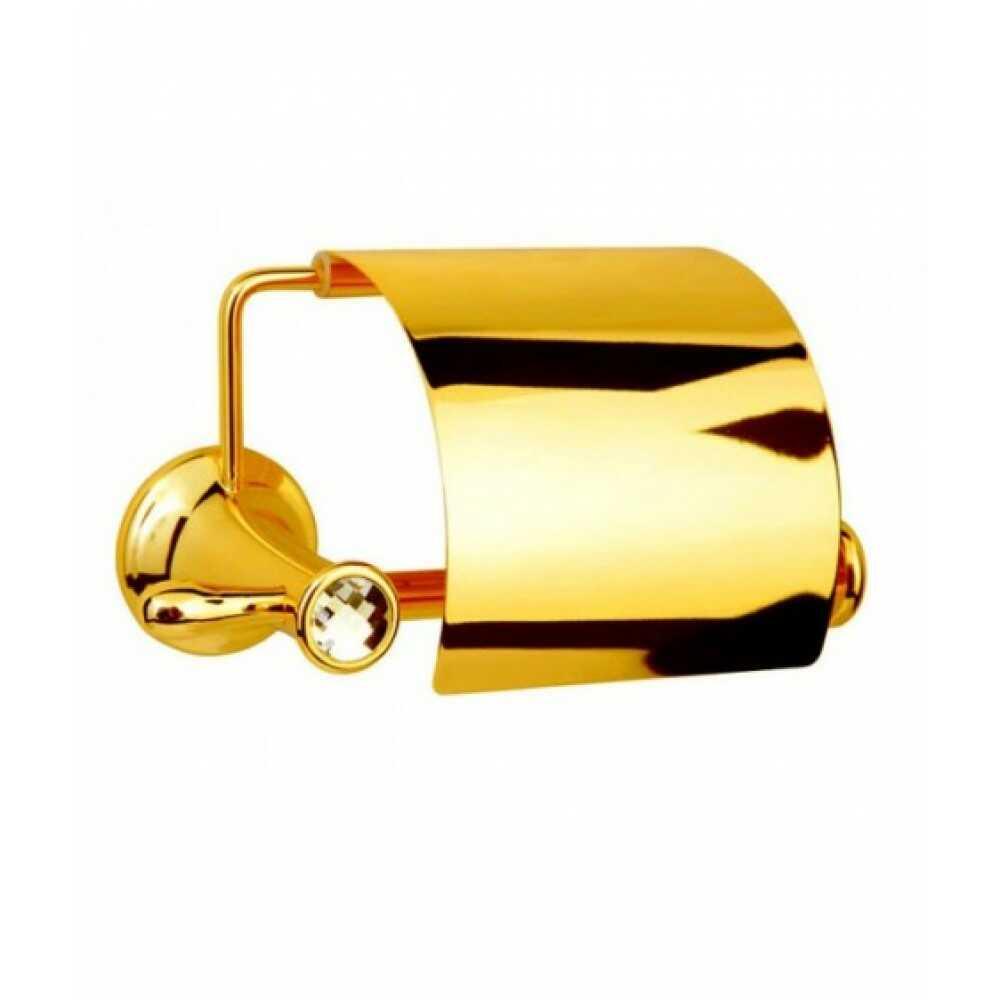 CHIARO Держатель для туалетной бумаги с крышкой 10501 золото & Swarovski